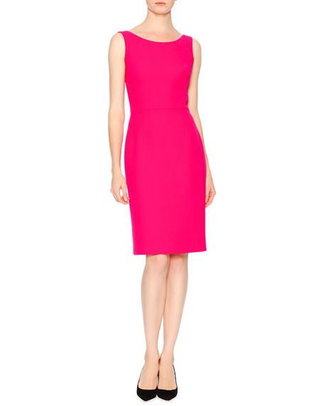 Sleeveless Back-V Shift Dress, Pink