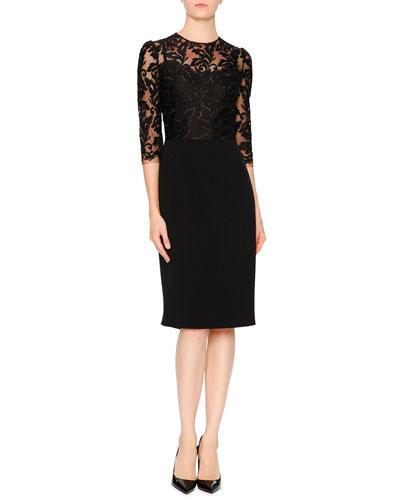 3/4-Sleeve Lace & Cady Sheath Dress, Black