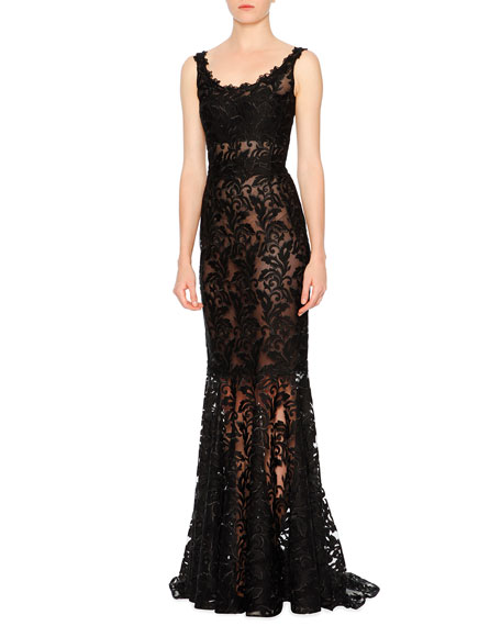 Dolce & Gabbana Sleeveless Round-Neck Lace Gown, Black