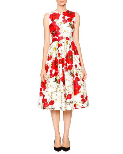 Poppy & Daisy Open-Back Party Dress, Red/Black/White