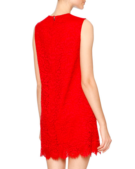 Cordonetto Lace Shift Dress, Bright Red