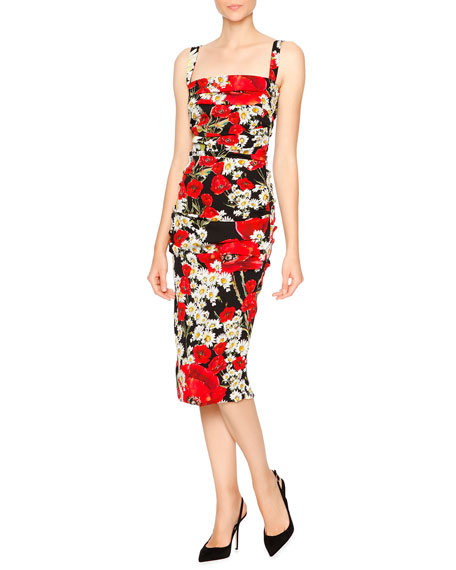 Dolce & Gabbana Poppy & Daisy Folded-Pleat Sheath Dress, Red/Black/White