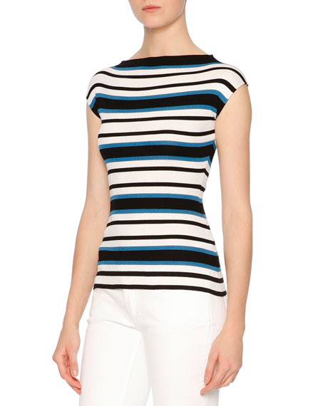 Dolce & Gabbana Cap-Sleeve Striped Shell, Blue/White/Black
