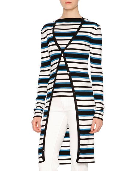 Dolce & Gabbana Long-Sleeve Striped Cardigan, Blue/White/Black