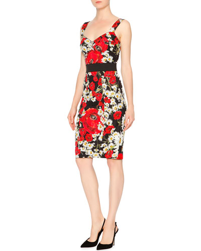Sleeveless Banded-Waist Poppy & Daisy Dress, Red/Black/White