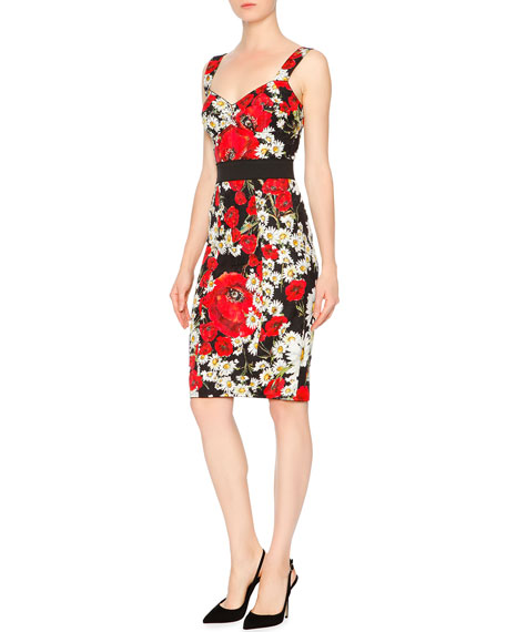 Dolce & Gabbana Sleeveless Banded-Waist Poppy & Daisy Dress, Red/Black/White