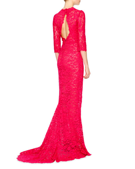 3/4-Sleeve Fitted Lace Gown, Shocking Pink
