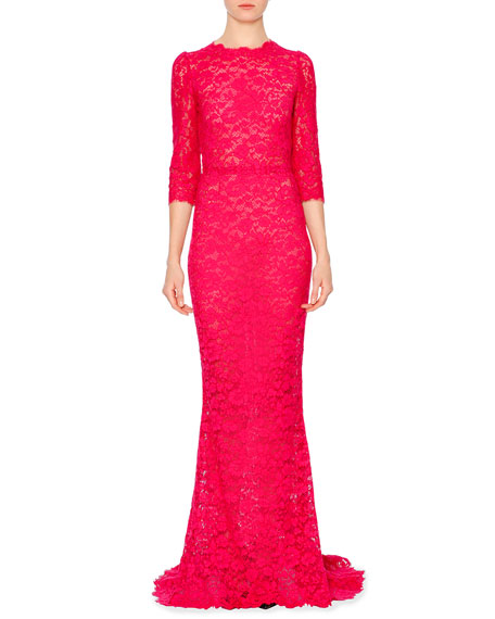 Dolce & Gabbana 3/4-Sleeve Fitted Lace Gown, Shocking