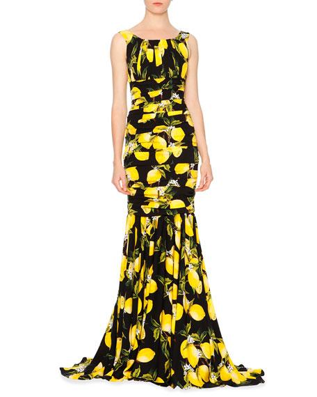 Dolce & Gabbana Sleeveless Pleated Lemon Gown, Yellow/Black