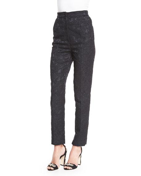 Dolce & Gabbana Straight-Leg Brocade Trousers, Black