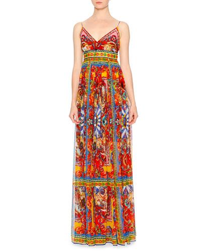 Carretto-Print Surplice Silk Gown, Red/Yellow/Blue