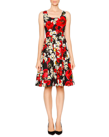 Dolce & Gabbana Poppy & Daisy Fit-&-Flare Dress, Red/White/Yellow