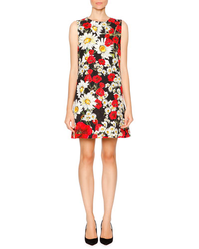 Sleeveless Poppy & Daisy Sheath Dress, Red/Black/White
