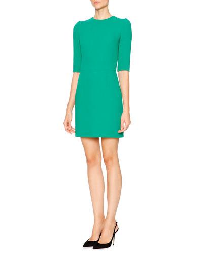Half-Sleeve Wool Crepe Mini Dress, Bright Green