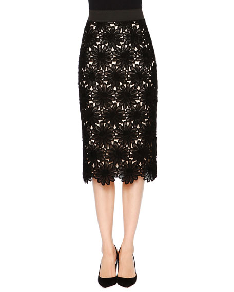Daisy-Lace Pencil Skirt, Black/Yellow/White