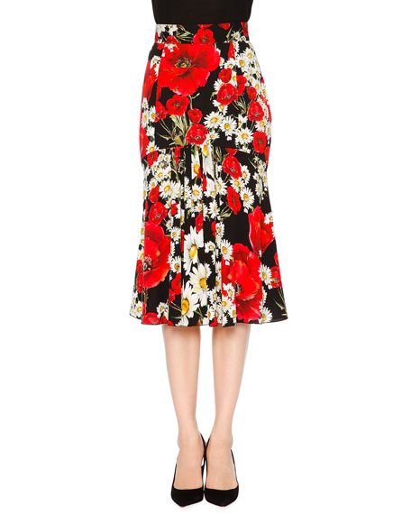Dolce & Gabbana Poppy & Daisy Flounce Skirt, Red/Black/White