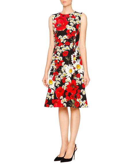 Dolce & Gabbana Sleeveless Poppy & Daisy Print Dress, Red/Black/White