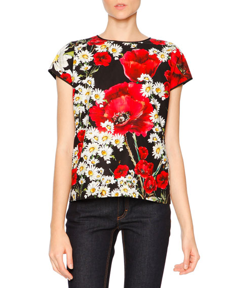 Dolce & Gabbana Cap-Sleeve Poppy & Daisy T-Shirt, Red/Black/White