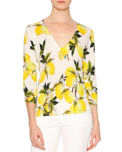 3/4-Sleeve V-Neck Lemon Sweater, Yellow/White