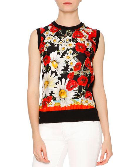 Dolce & Gabbana Sleeveless Poppy & Daisy Shell, Red/White/Yellow