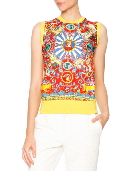 Dolce & Gabbana Sleeveless Carretto-Print Shell, Red/Yellow/Blue
