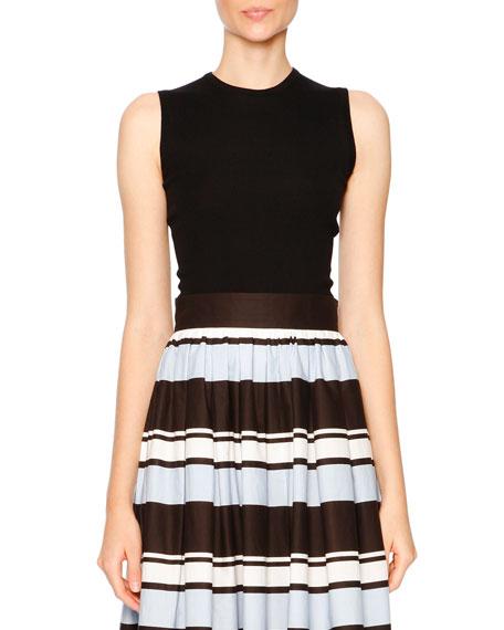 Dolce & Gabbana Thin-Ribbed Sleeveless Shell, Black