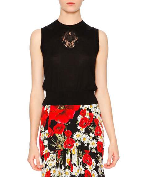 Dolce & Gabbana Knit Shell W/Lace Inset, Black