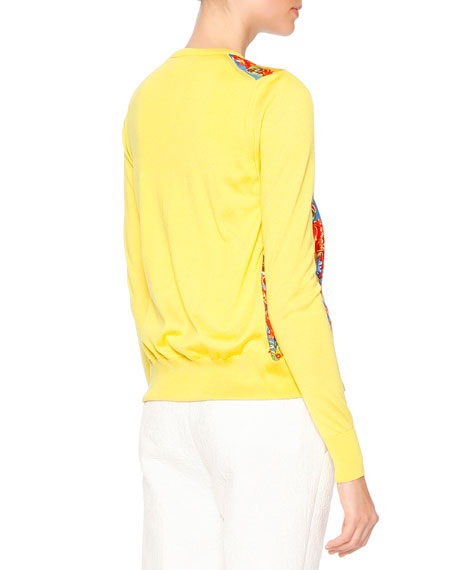 Carretto-Print Button-Front Cardigan, Red/Yellow/Blue