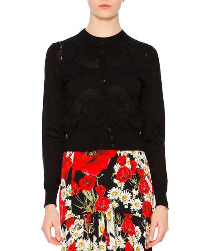 Button-Front Lace-Detail Cardigan, Black