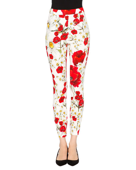 Dolce & Gabbana Poppy & Daisy Cropped Skinny Pants, Red/White/Yellow