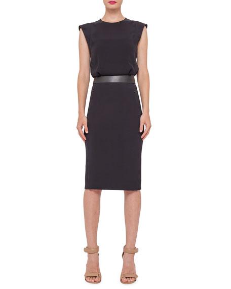 Akris Sleeveless Banded-Waist Sheath Dress, Black