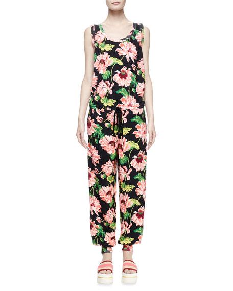 Stella McCartney Sleeveless Floral-Jacquard Jumpsuit, Dark Floral