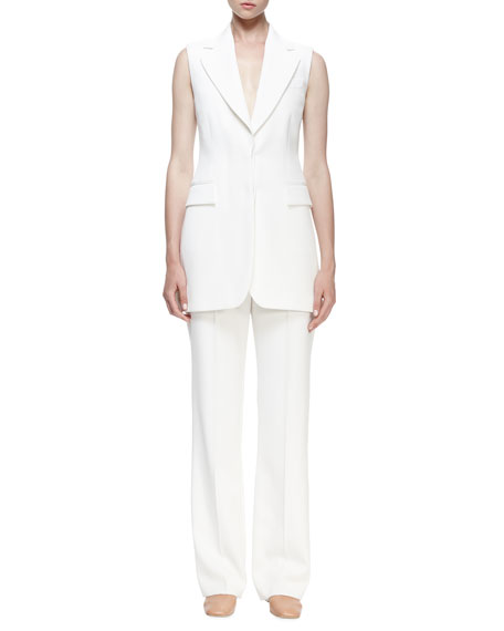 Stella McCartney Becka Sleeveless Tuxedo Jacket, Ivory