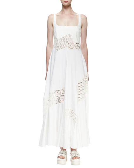 Stella McCartney Sleeveless Maxi Dress W/Broderie Anglaise Trim,