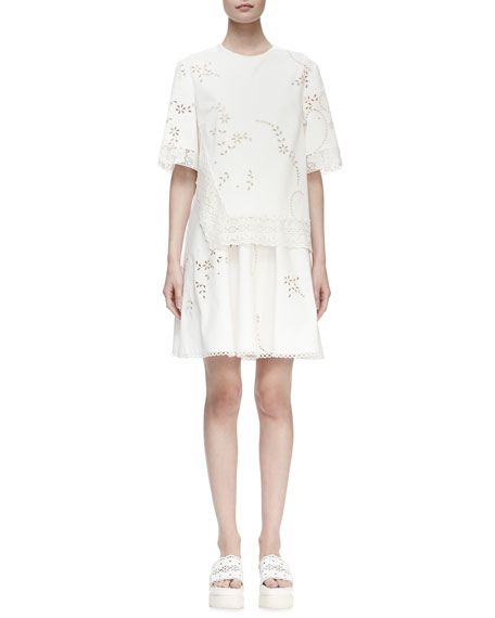 Stella McCartney Half-Sleeve Layered Eyelet Dress, White