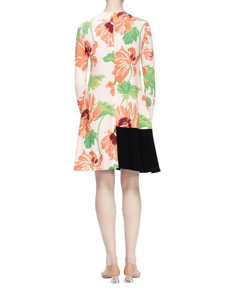Emma Long-Sleeve Floral-Print Dress, Rose