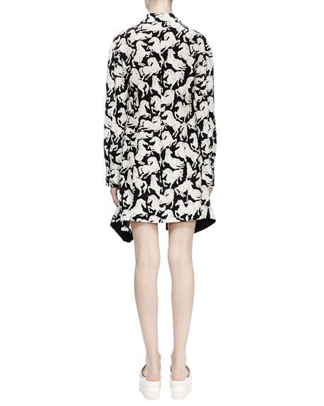 Lelia Horse-Print Shirtdress, Black