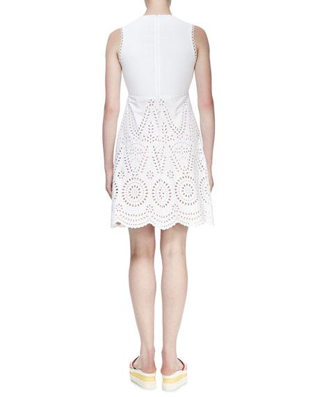 Sleeveless Deep-V Eyelet Dress, White