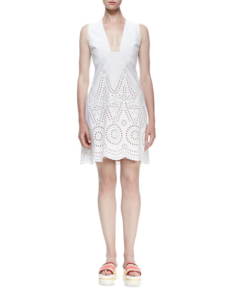 Stella McCartney Sleeveless Deep-V Eyelet Dress, White