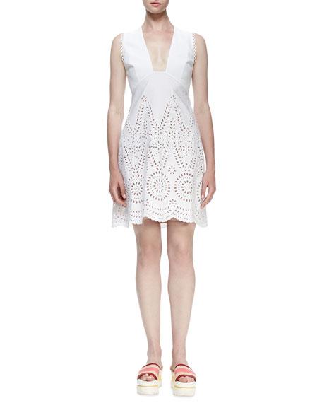 Stella McCartney Sleeveless Deep-V Eyelet Dress, White