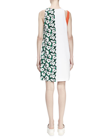 Odile Floral-Print Colorblock Shift Dress