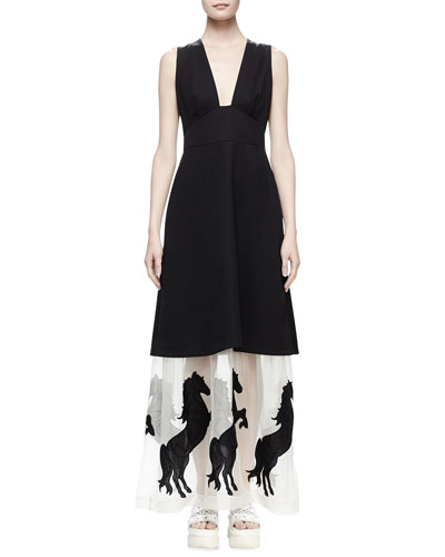 Sleeveless Tuxedo Dress W/Horse Hem, Black