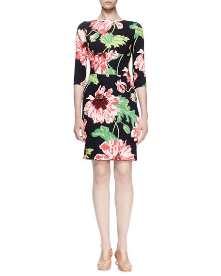 Stella McCartney Ada Floral-Print Sheath Dress, Black