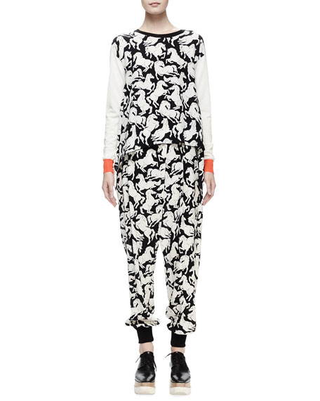 Stella McCartney Long-Sleeve Horse-Print Sweater, Milk/Black