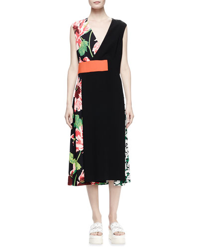 Agnes Sleeveless Colorblock Dress, Black
