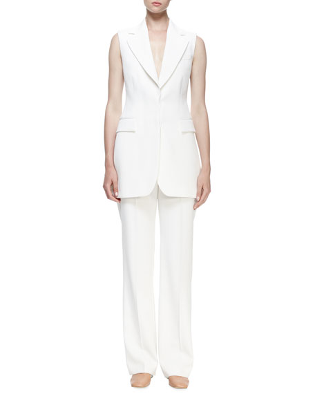 Slim-Fit Lined Trousers, Ivory
