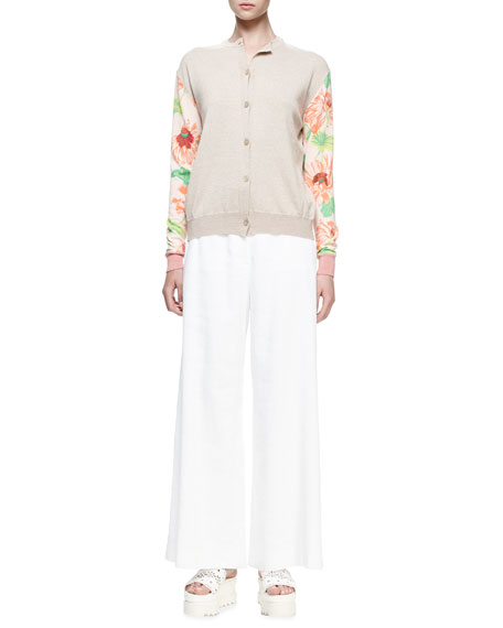 Stella McCartney Floral-Print Long-Sleeve Cardigan & Belted