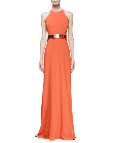 Stella McCartney Saskia Sleeveless Belted Gown, Poppy