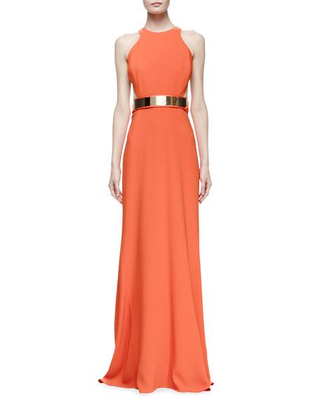 Stella McCartney Saskia Sleeveless Belted Gown, Poppy