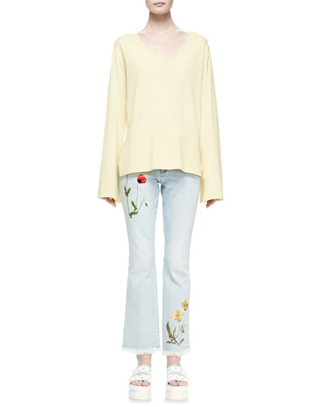 Stella McCartney Floral Embroidered Bomber Jacket, Long-Sleeve